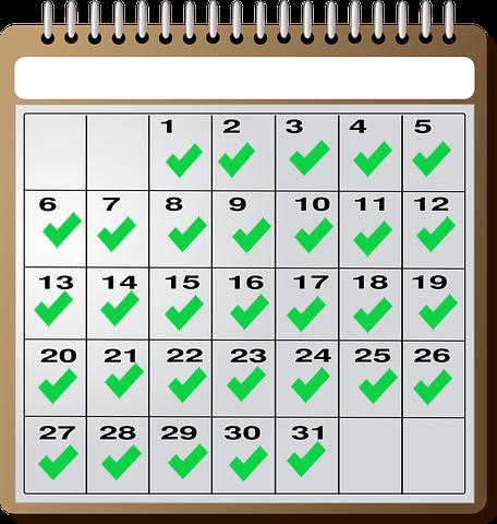 Regularity calendar Daily