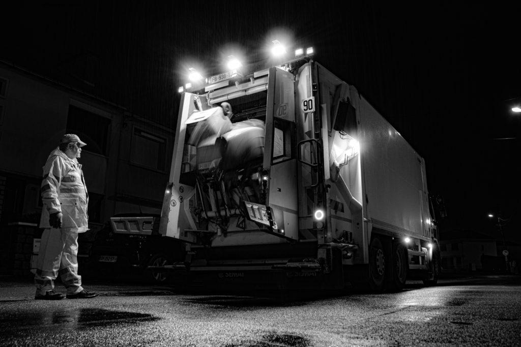 David RAUTUREAU Travailleurs de l'ombre Agent de salubrité Camion de poubelle Nuit Travailleurs Cholet